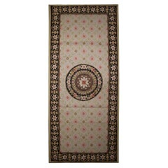 Small Wool Needlepoint Runner Rug Handwoven Traditional Floral Area Rug