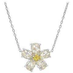 Small Yellow and White Diamond Flower Pendant