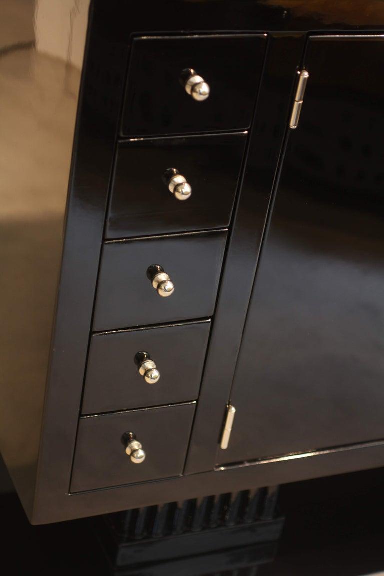 Metal Small Art Deco Sideboard with Drawers, Black Piano Lacquer, France, circa 1930 For Sale