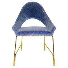 Smania Italian Modern Prototype Brass and Azur Blue Living Room Armchair