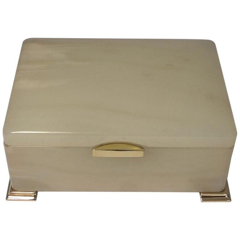 Smart Antique Art Deco White Onyx Box by Betjemman, circa 1920