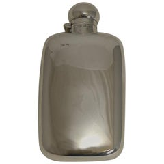 Smart Antique English Sterling Silver Liquor / Whisky Flask, 1901