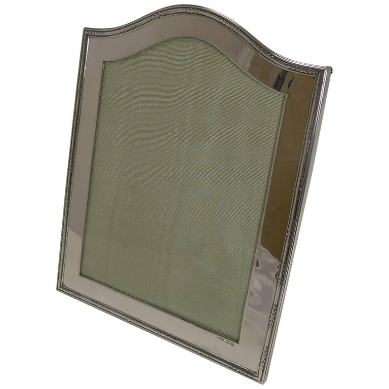 Smart Antique English Sterling Silver Photograph Frame For Sale