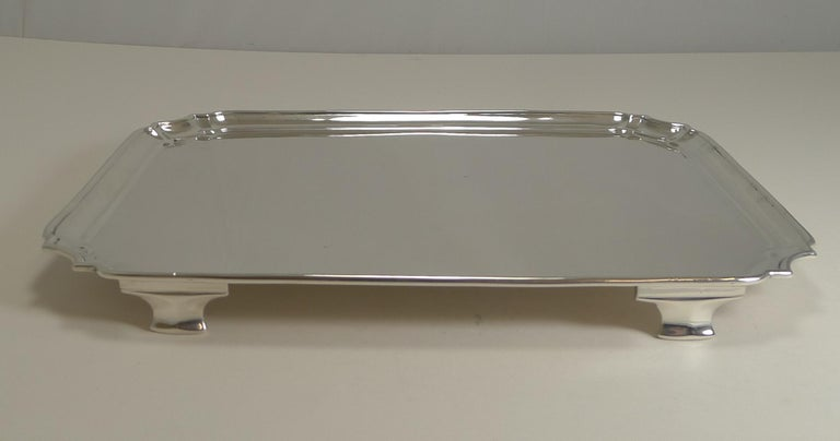 Early 20th Century Smart Antique English Sterling Silver Serving / Cocktail Tray, 1903 For Sale