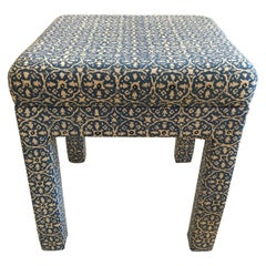 Smart Blue and White Linen Upholstered Parsons Style Ottoman