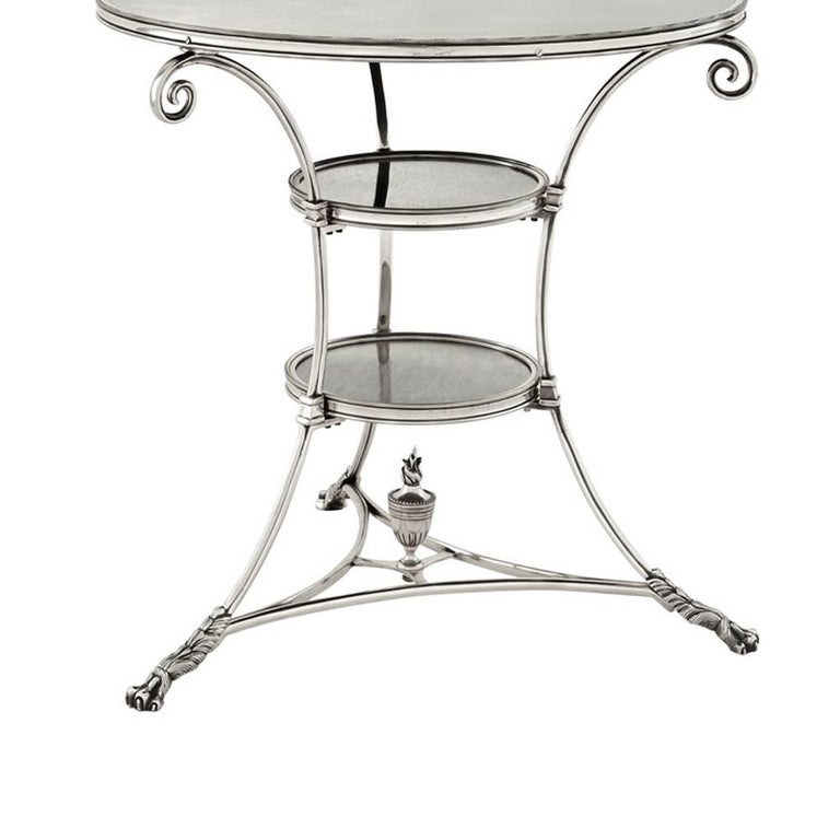 Indian Smart Castle Side Table in Antique Silver Plated or in Antique Brass For Sale