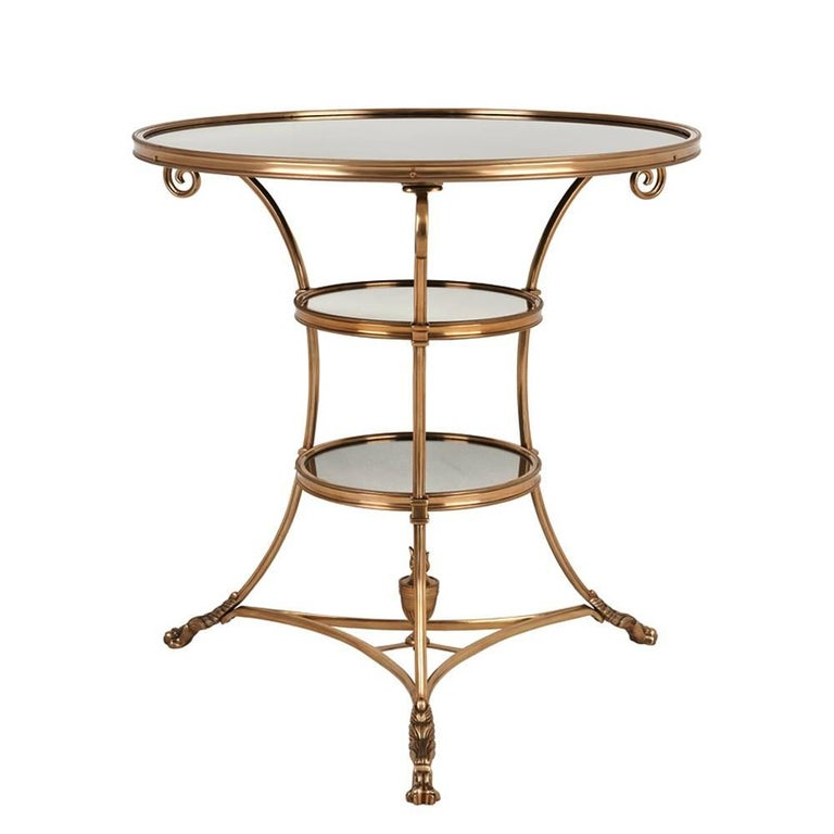 Smart Castle Side Table in Antique Silver Plated or in Antique Brass For Sale 1