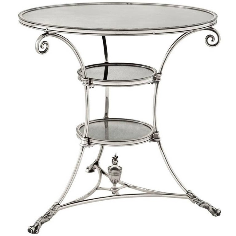 Smart Castle Side Table in Antique Silver Plated or in Antique Brass For Sale