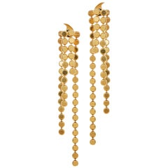 Smart Earrings Round Motif Chain 18 Karat Gold-Plated Silver Greek Earrings