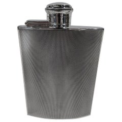 Smart English Art Deco Sterling Silver Hip Flask