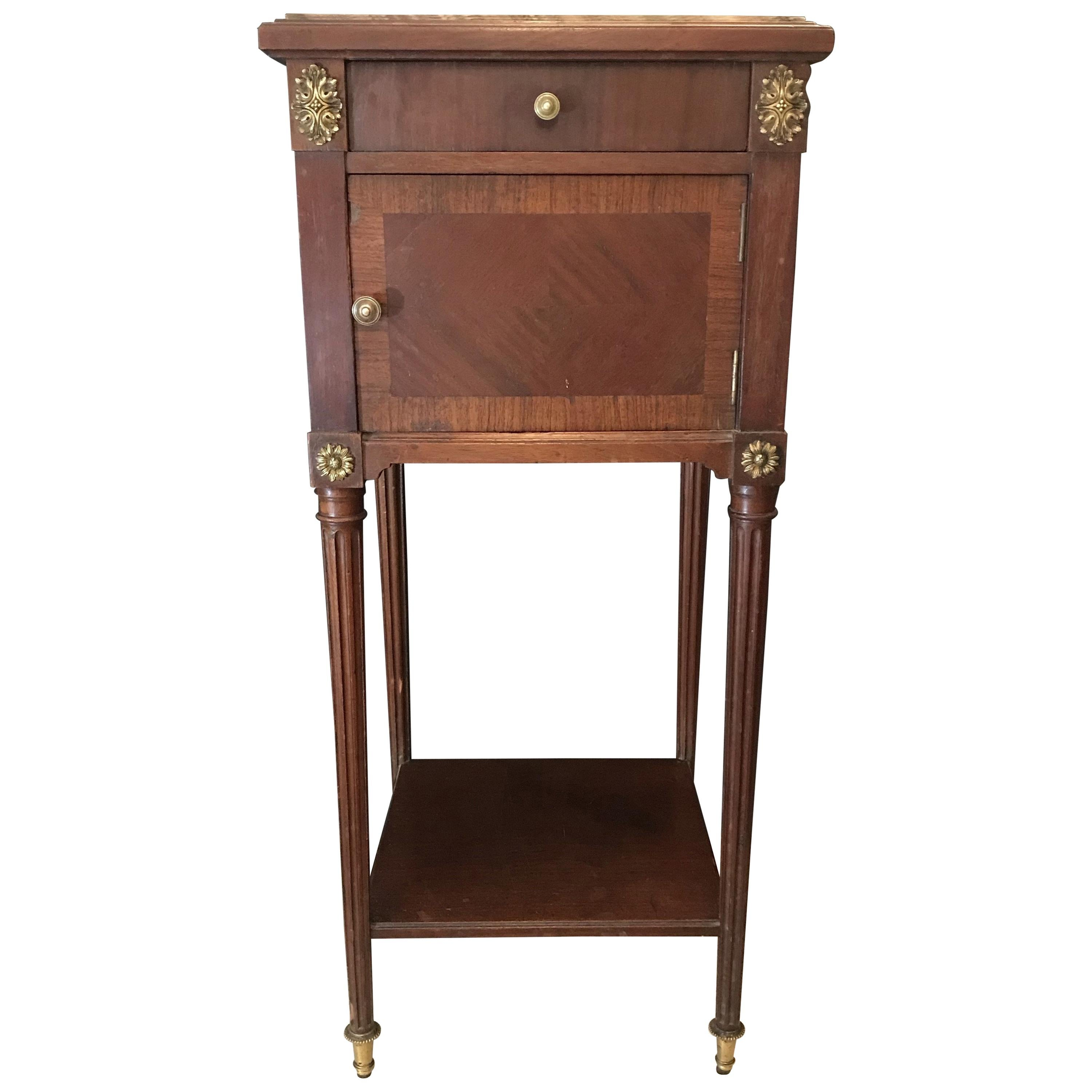 Smart French Louis XVI Nightstand or Side Table with Carrera Marble Top
