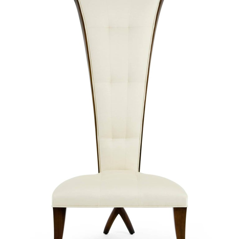 English Smart High Back Chair in Solid Mahogany Wood and High Quality Fabric For Sale