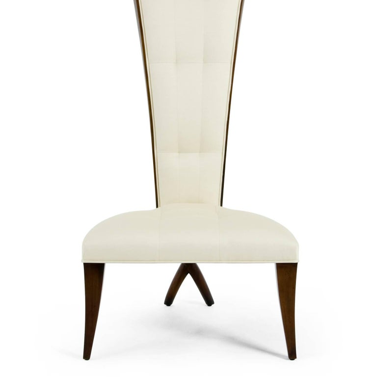Hand-Carved Smart High Back Chair in Solid Mahogany Wood and High Quality Fabric For Sale