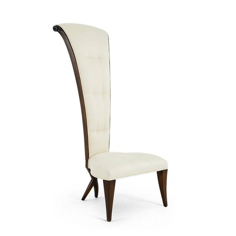 Contemporary Smart High Back Chair in Solid Mahogany Wood and High Quality Fabric For Sale