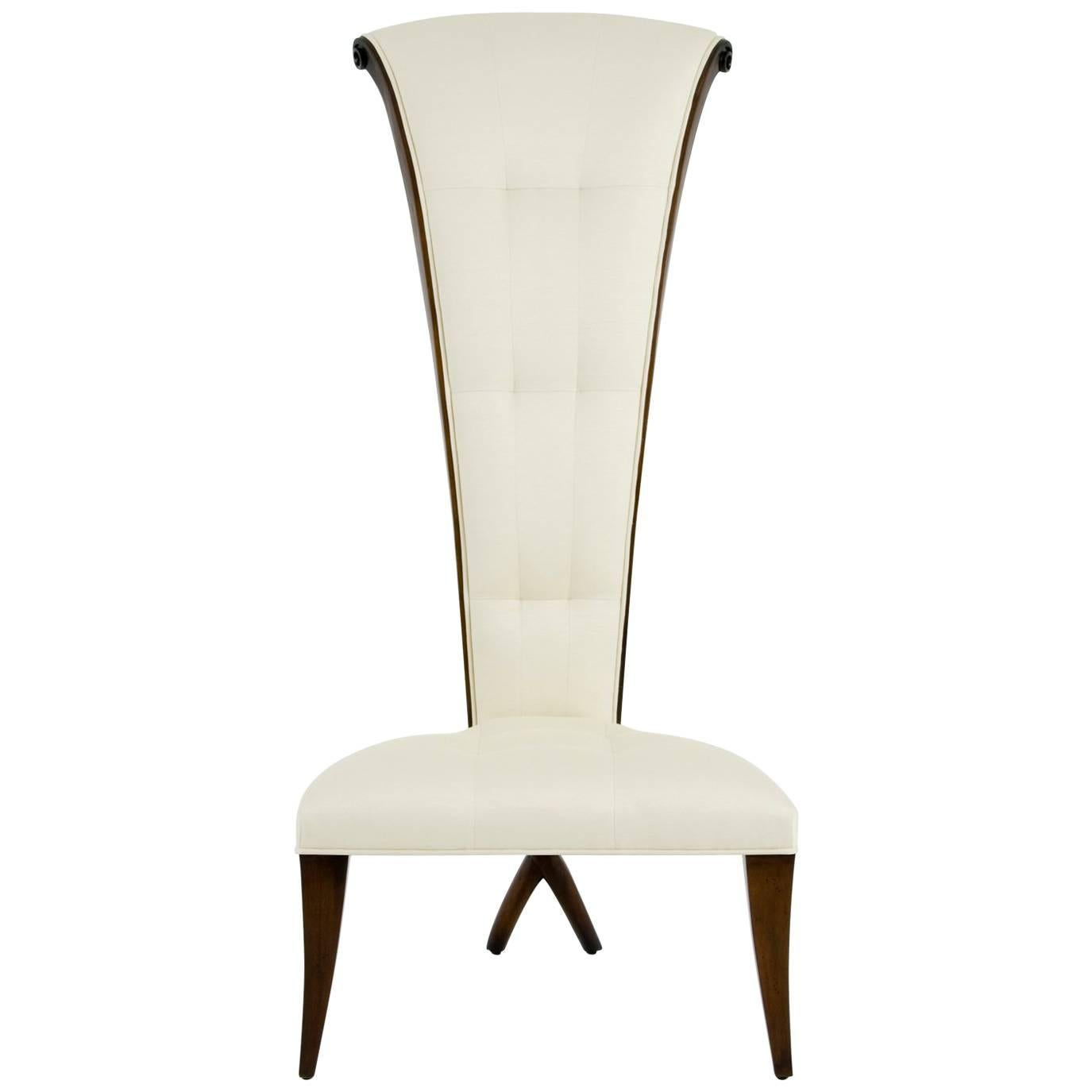 Smart High Back Chair in Solid Mahogany Wood and High Quality Fabric