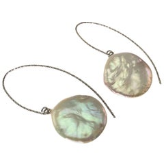 Gemjunky  Iridescent White Coin Pearl Dangle Earrings on Sterling Silver wires