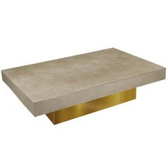 Modern Coffee Table Grey Concrete scagliola art Gold Leaf Wooden  Base handmade