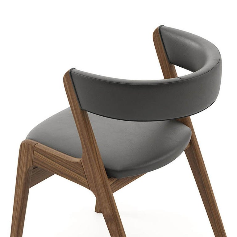 Smart Walnut Chair with Black Genuine Leather For Sale 4