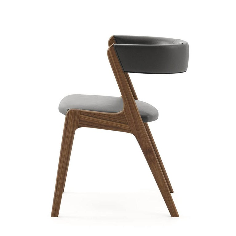 Portuguese Smart Walnut Chair with Black Genuine Leather For Sale