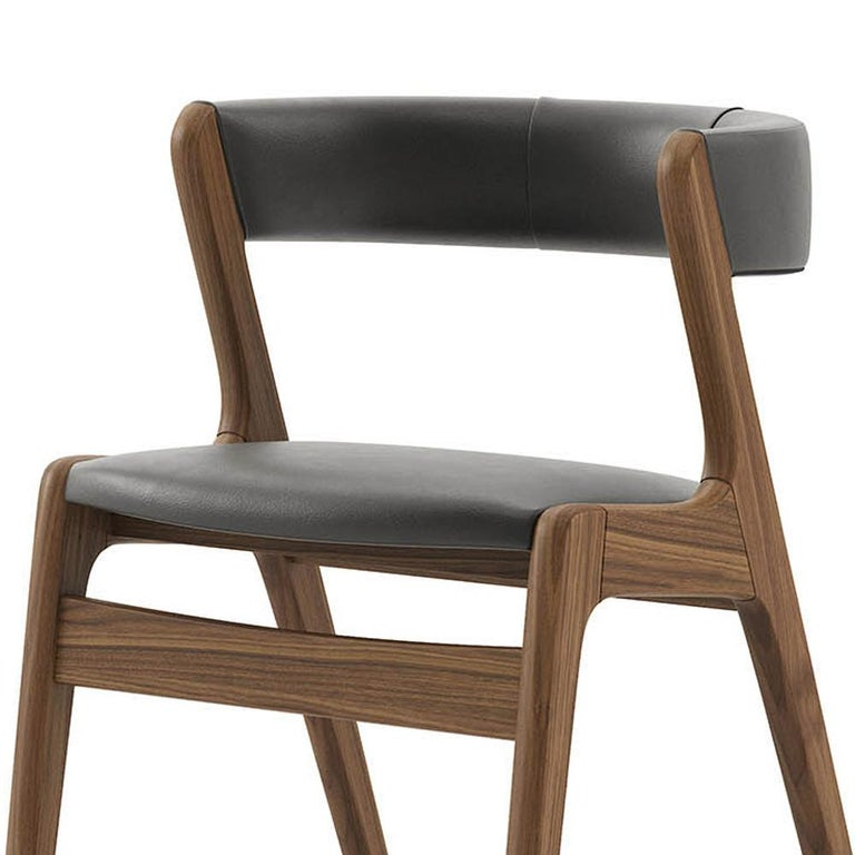Contemporary Smart Walnut Chair with Black Genuine Leather For Sale