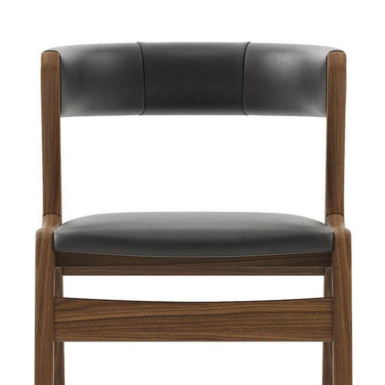 Smart Walnut Chair with Black Genuine Leather For Sale 1