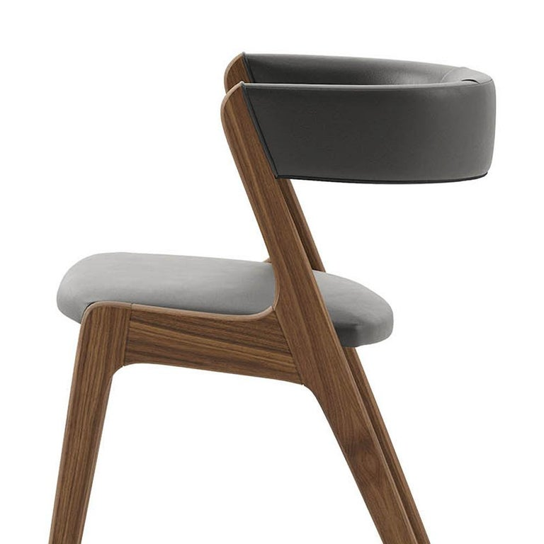 Smart Walnut Chair with Black Genuine Leather For Sale 2