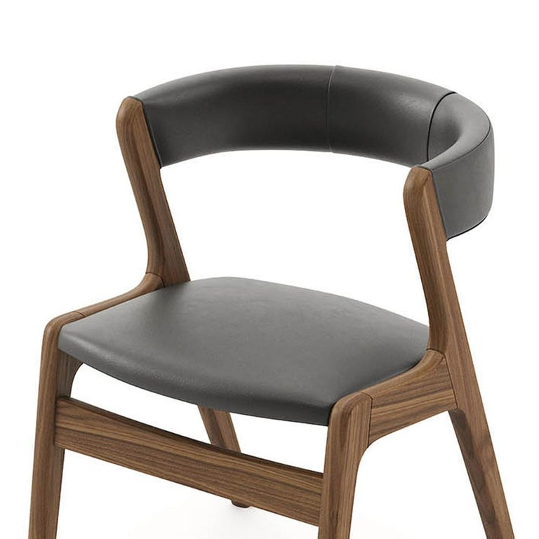 Smart Walnut Chair with Black Genuine Leather For Sale 3