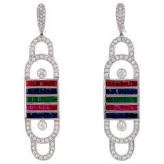 Smartphone 'RBG' Tri Color Dangle Earring