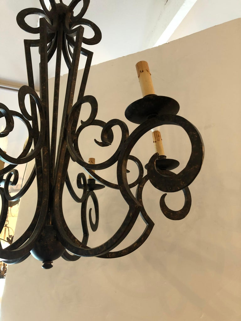 Modern Smashing Dark Brown and Gilded Wrought Iron Chandelier For Sale