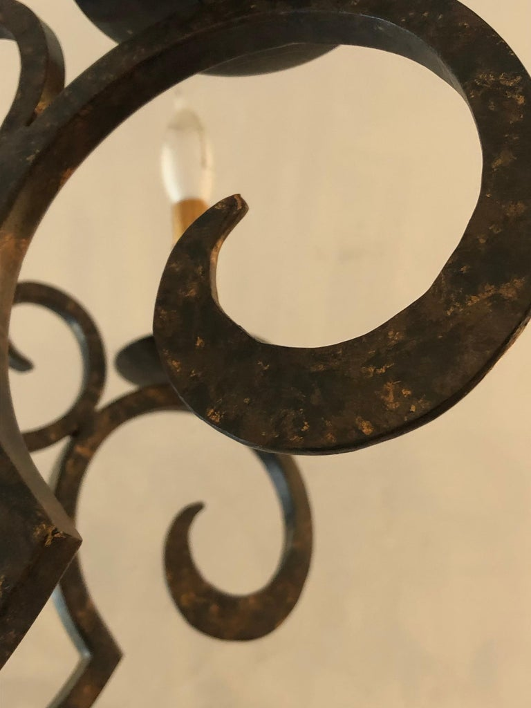 Contemporary Smashing Dark Brown and Gilded Wrought Iron Chandelier For Sale