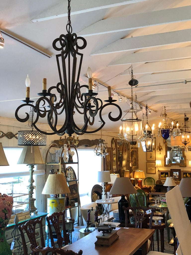 Smashing Dark Brown and Gilded Wrought Iron Chandelier For Sale 1