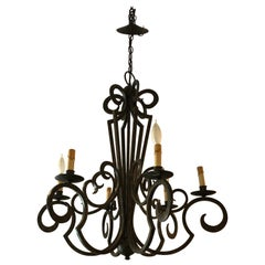 Smashing Dark Brown and Gilded Wrought Iron Chandelier