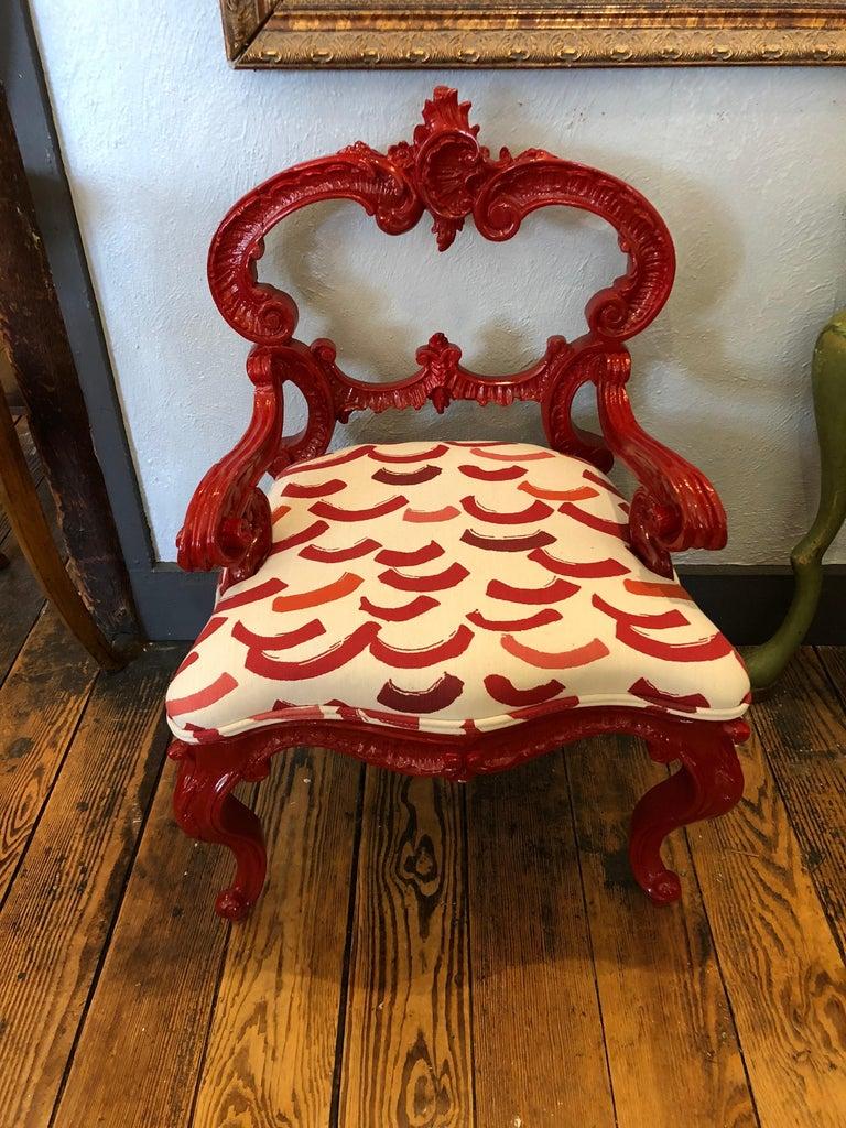 Smashing Designer Diminutive Laquer Rococo Chair For Sale 7