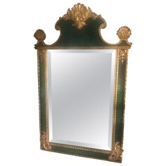 Smashing French Style Green and Gold Faux Malachite Mirror