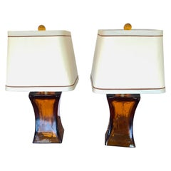 Smashing Pair of Amber Blown Glass Mid-Century Modern Table Lamps by Donghia