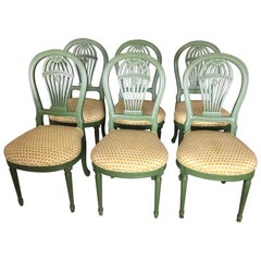 Smashing Set of 6 Green Lacquered Balloon Back Dining Chairs