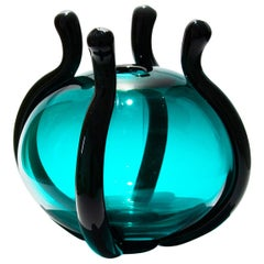 Smeraldo Contemporary Hand Blown Murano Glass Emerald Green Vase