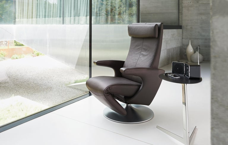 Contemporary Smile Adjustable Rotating Leather Armchair by FSM For Sale