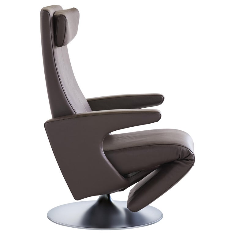 For Sale: Gray (Umbra) Smile Adjustable Rotating Leather Armchair by FSM