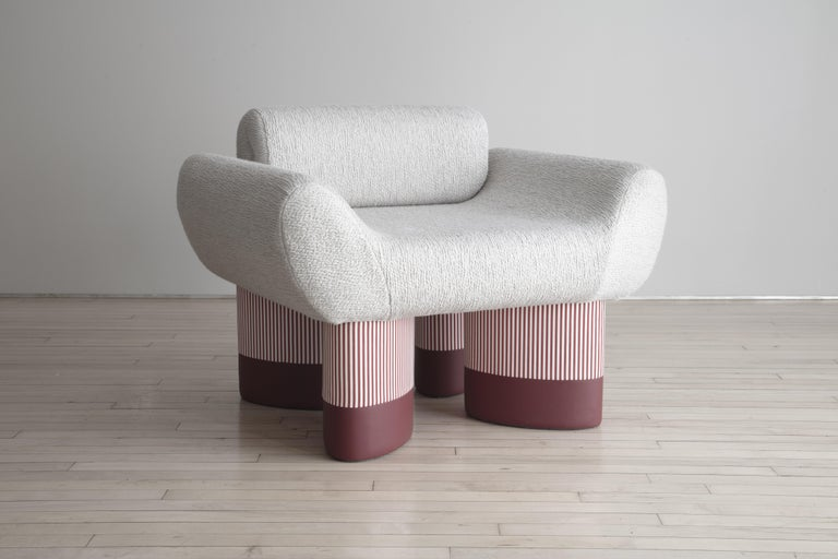 Edition of 25 signed & numbered  Les Ateliers Courbet invites Giancarlo Valle to develop the Smile seat collection in collaboration with master upholsterers Domeau & Pérès represented by the gallery.   As part of the new Editions Courbet