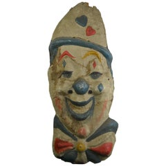 Smiling Circus Clown Head, Papier Mâché, 1930s
