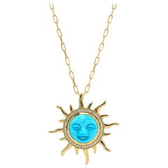Smiling Sun Turquoise Pendant, 18kt Yellow Gold
