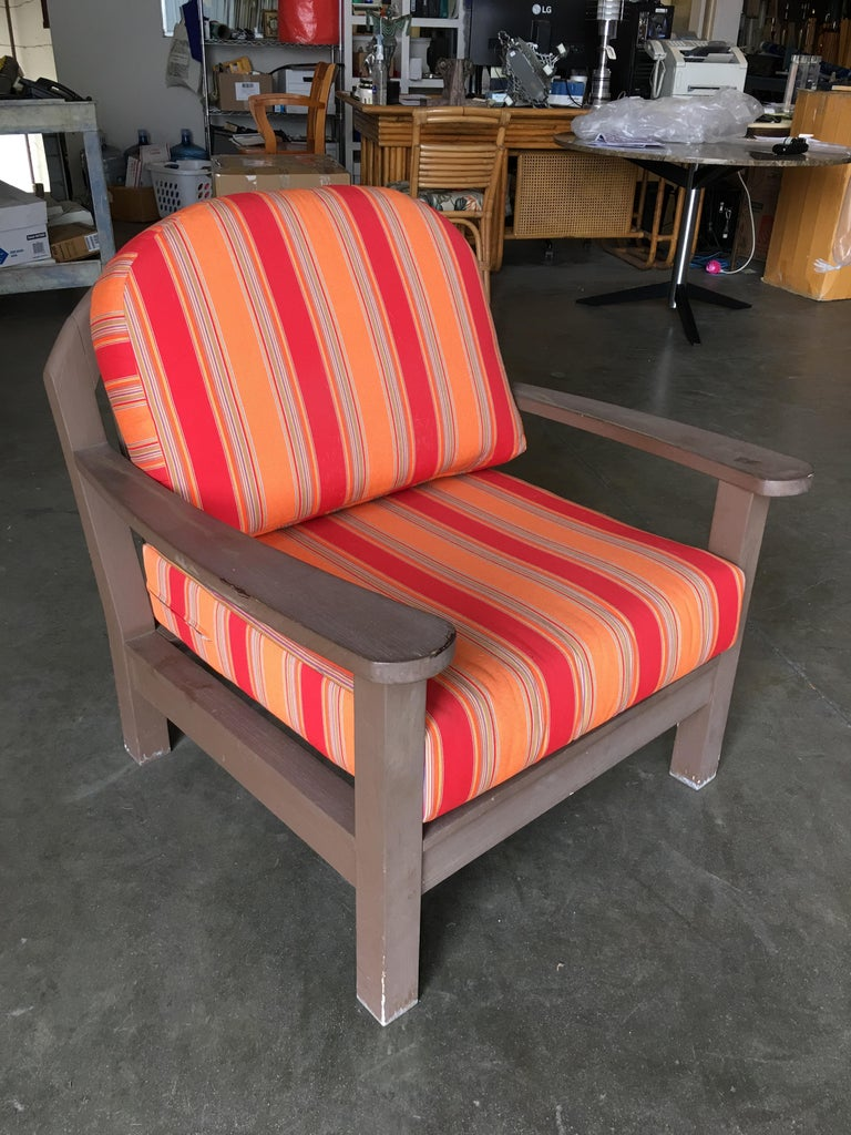 Indonesian Smith and Hawken Large Patio Lounge Chair, Pair For Sale