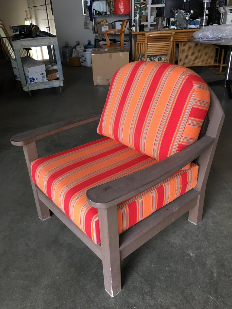 Wood Smith and Hawken Large Patio Lounge Chair, Pair For Sale