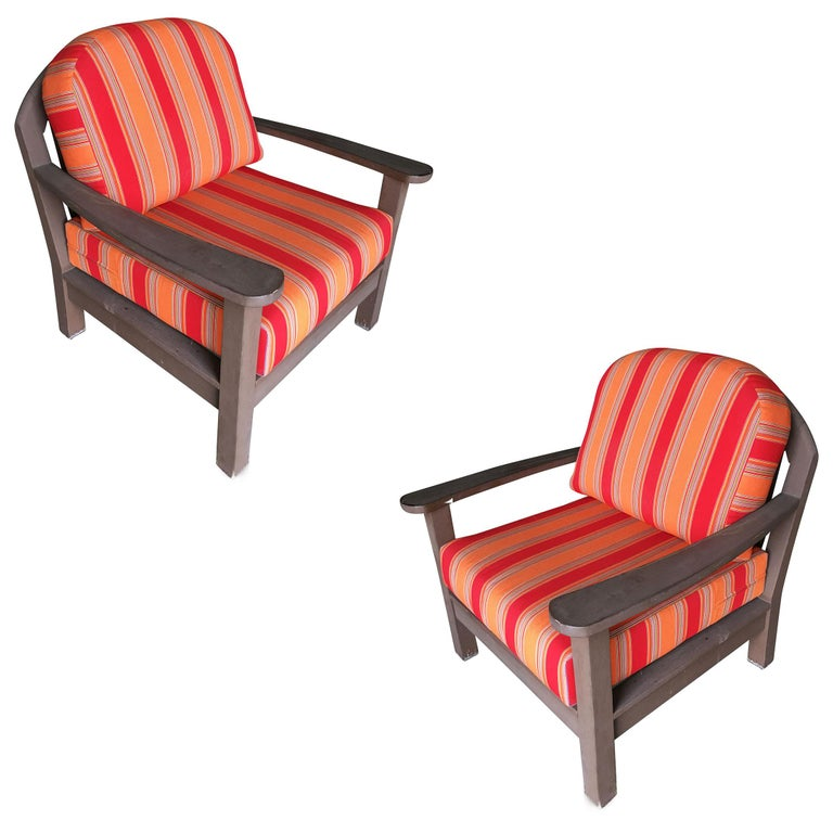 Smith and Hawken Large Patio Lounge Chair, Pair For Sale