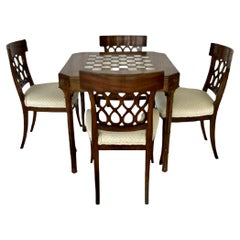 Smith and Watson Regency Style Faux Bamboo Game Table and Chairs