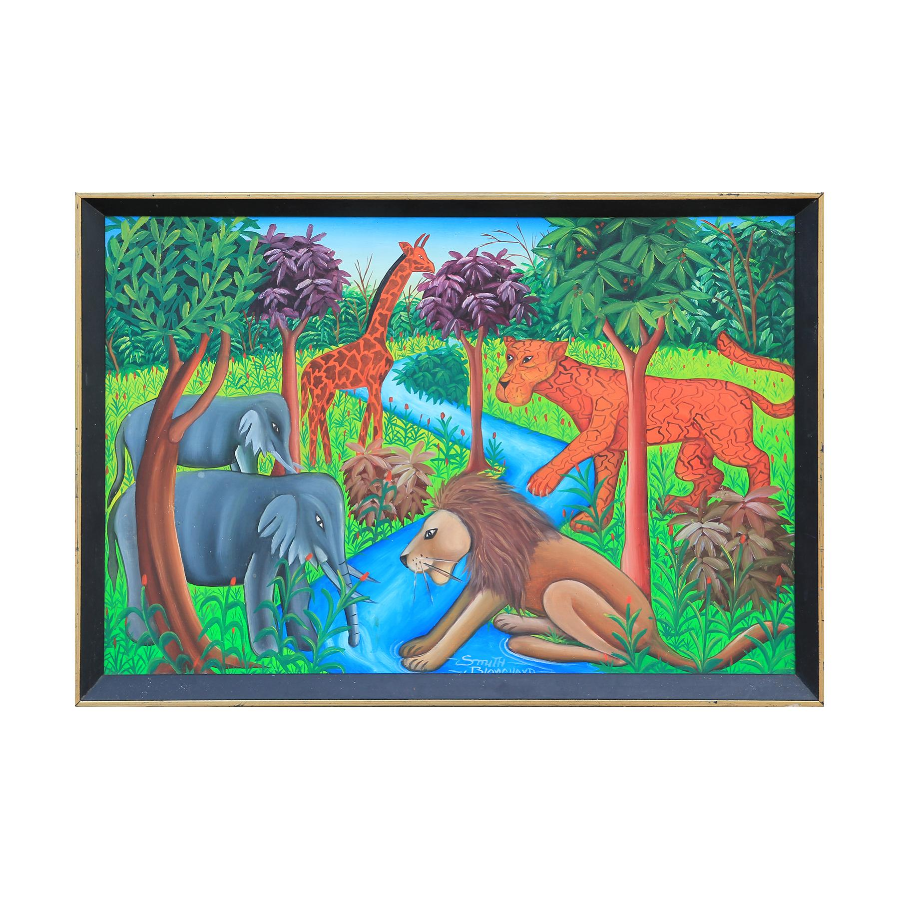 Surrealist Jungle Animals Painting by Haitian Artist