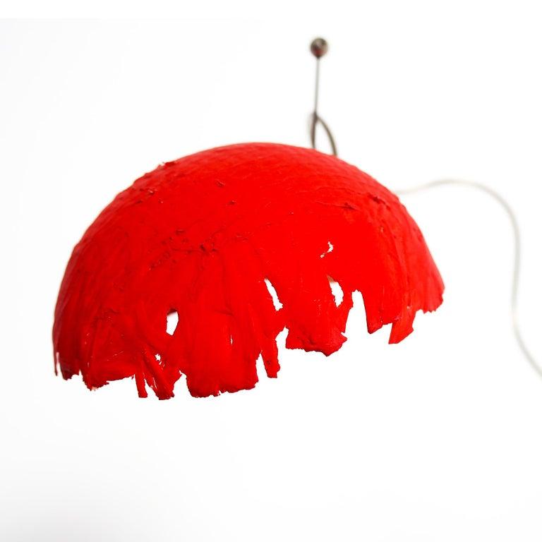 Fiberglass Italian Modern Catellani&Smith Red Table Lamp, 2004 For Sale