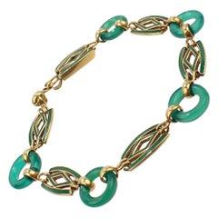 Smith & Pepper Edwardian English 9 Carat Gold, Enamel and Jade Link Bracelet