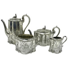 Smith Sissons & Co. Victorian Plated Oriental Engraved English Tea Set, 1848